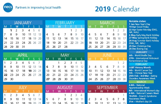 NECS 2019 Calendar Now Available
